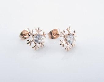 Rose Gold Earrings, Snowflake Earrings With Swarovski Crystal, Rose Gold Snowflake Earrings, Winter Earrings