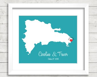 8x10 Dominican Republic Love Map - Punta Cana, Dominican Republic - Destination/Beach Wedding - Paper Anniversary - Mrs and Mrs