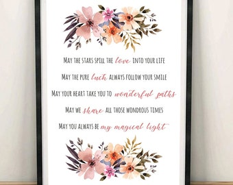 Love Poems, Anniversary Gifts, Love Quote, Wedding Gift, Romantic Gift, Gift for Her