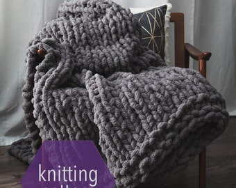 Huge Chunky Knit Blanket Knitting Pattern >>Instant Download<<