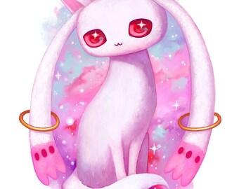 Puella Magi Madoka Magica Kyubey art print - magical girl, mahou shoujo, kawaii art, anime, manga, pastel, PMMM, cute painting, 8x10