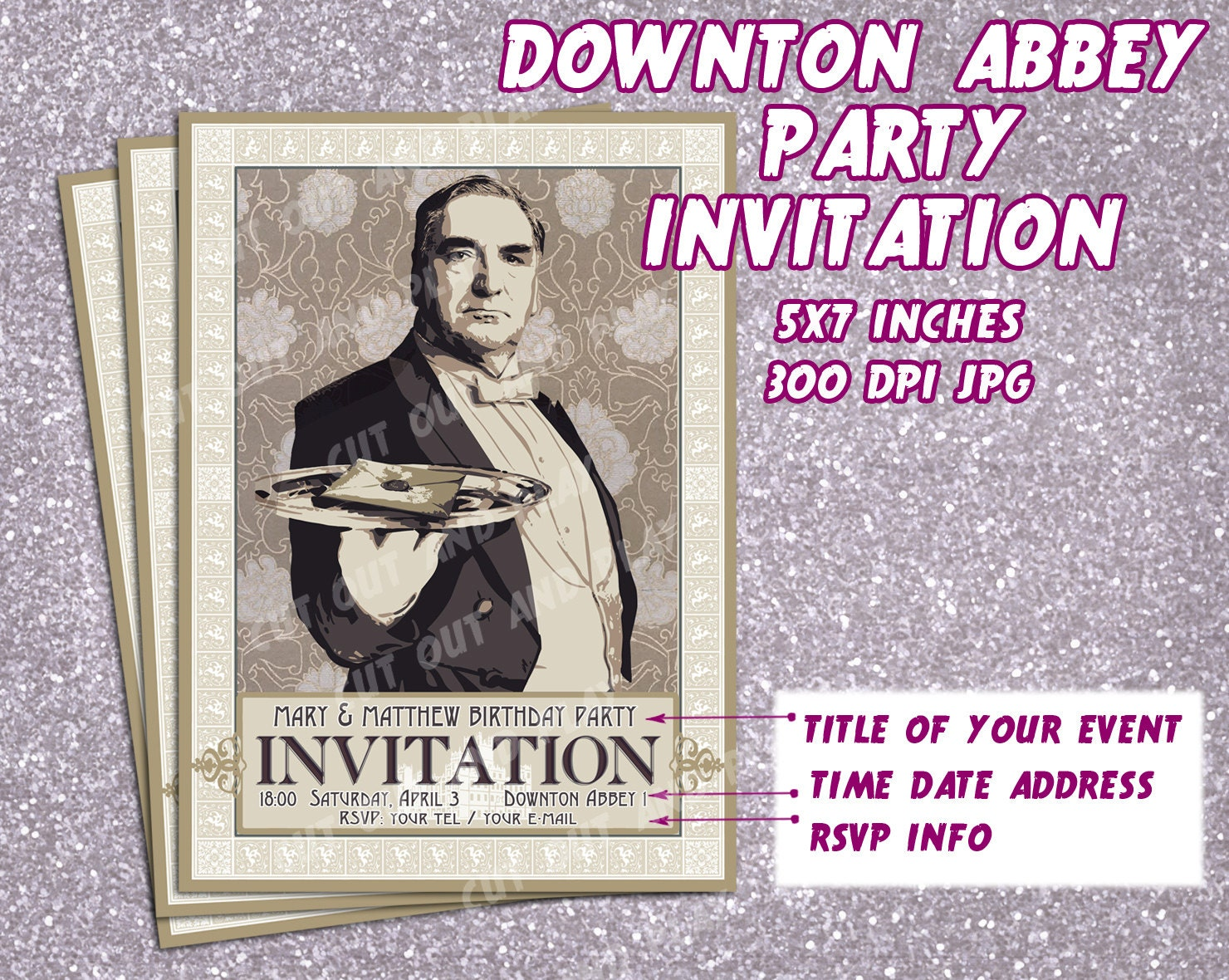 Downton abbey party invitation printable invitation card mr zoom monicamarmolfo Image collections