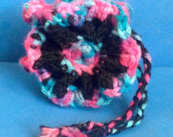 Crocheted Flower Drawstring Bag