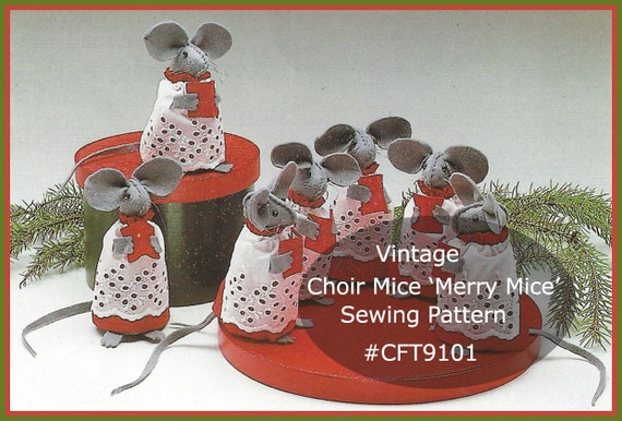 Grey Mouse Sewing Pattern Christams Choir Mice Sewing Pattern