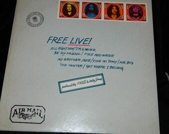 Free, Free Live, VG+, Blues Rock, Hard Rock, Vinyl LP, 1971, I'm A Mover, Ride A Pony, Mr. Big, The Hunter, Get Where I Belong, All Right No