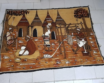 Bogolan Mudcloth Rare Unique Village Scene handwoven hand painted mural wall hanging fermented mud 100% cotton