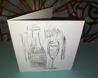 Prosecco card. Printmaking. Linocut. Linoprint. Birthday.