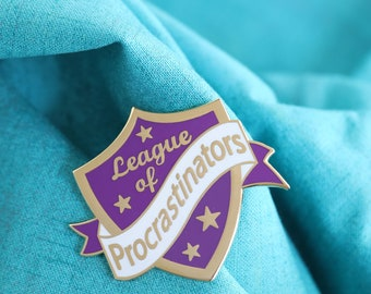 purple procrastinator pin ,hard enamel pin, enamel pin set, procrastinate, crafty enamel pin, procrastinator enamel pin, lapel pin