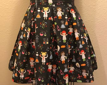 Female Scientist Science Printed Adult High Waisted Skater Skirts