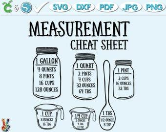 Measurement Cheat Sheet SVG , Kitchen SVG , Measurement Chart SVG , Cut File , Cutting File , Cooking svg, Mason Jar svg, jpg, png, pdf