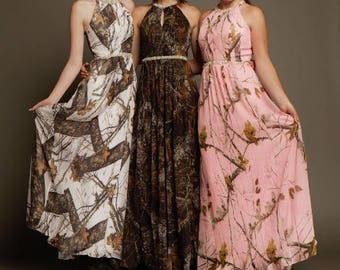 Halter Mossy Oak Camo Prom Dress