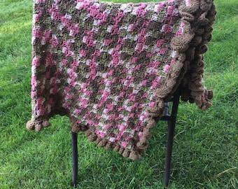 Hand crocheted Pink camo baby blanket - new born size - Pink camo baby blanket - nursery decor - baby girl shower gift - ruffle blanket