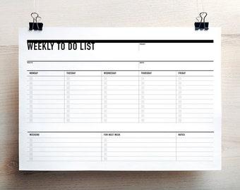 Printable Weekly To Do List, Week Agenda Planner, Printable To Do list, Student Agenda, Weekly Action Plan, Printable Plan, Weekly Planner