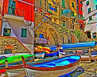 Cinque Terre photo, Italy photos, Fine Art photo, Boat photos, Wall art photo, Colorful photo,