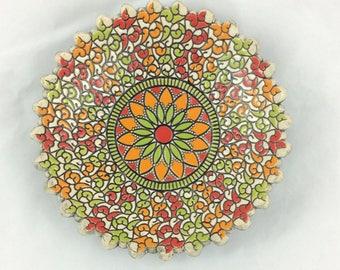 Mandala dish (red, green, orange)
