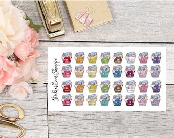 Laundry Basket Planner Stickers - For Erin Condren Life Planner or Happy Planner
