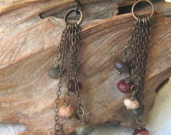 jasper multi dangle earrings
