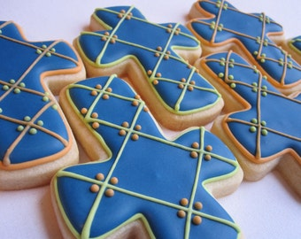 BAPTISM CROSS COOKIES, 12 Decorated Sugar Cookie Party Favors