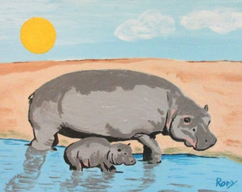 "Hippopotamama - an 18"" X 12"" acrylic on canvas painting by Rory Doyle, an artist with autism"