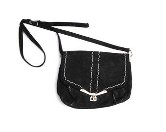 Vintage folk bag, black white suede leather Dirndl Trachten accessory, metal ornament clasp and adjustable strap, 1950s Oktoberfest fashion