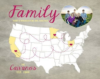 Family Gift Idea, US Map with locations of Family Members - Personalized Map, Photo Heart, Your Photo - Christmas Gift for Families