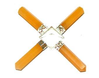 On Hot Sale !!! Crystal Pyramid Yellow Aventurine 4 Point Energy Generator
