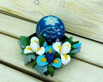 Blue candle - ball with Irises - Gift for Mom - Christmas Candle - Valetine's Day Gift - box with candle