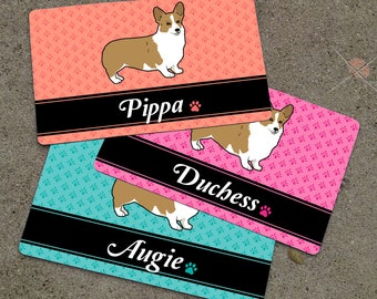Personalized DOG BREED Themed Floral Placemat - Dog Mat - Pet Food Mat - Rubber Placemat