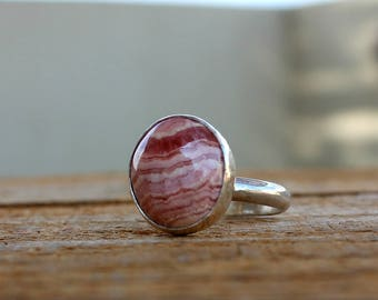 Rhodochrosite ring, 925 sterling silver ring, Rhodochrosite pink ring,Pink Gemstone ring, Rhodochrosite Jewelry, Oval Cabochon,Healing Stone