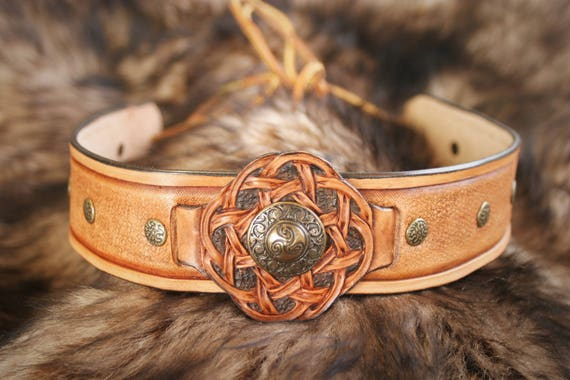 Celtic warrior headband tiara Crown tiara antique medieval men leather embossed