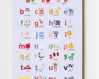 "Romanian Alphabet 12""x18"" Print"