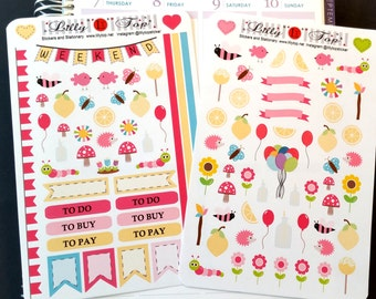 Lemon, Summer Set, Pastel Colors, Stickers, Fits Erin Condren and others, Planner Stickers, Calendar Stickers, Life Planner Stickers