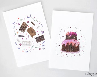 Chocolate cake watercolor card, Chocolake lover, Chocolate watercolor painting, Chocolate greetings card, Cute stationery, Sweets card