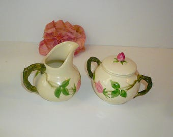 Franciscan Desert Rose China Creamer Sugar Bowl California Pottery Handpainted by VintageReinvented