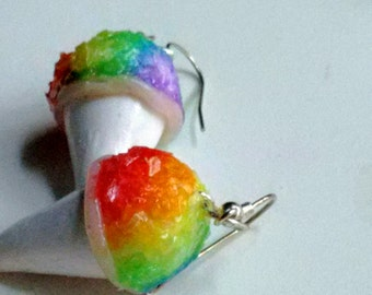 Rainbow Sno Cone Earrings - Miniature Food Jewelry - Inedible Jewelry - Snow Cone Jewelry - Kid's Jewelry - Kawaii Jewelry - Candy Jewelry