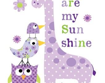 Baby girl nursery art-Kids Wall Art- purple you are my sunshine animals print