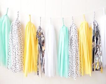 Black Dot Yellow Mint White and Silver Tassel Garland - Wedding Decor - Girls Room decor - Nursery Decor - Photo Prop - Garland