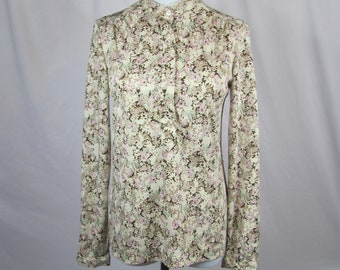Vintage Womens Floral Silky Button Down Top / Blouse