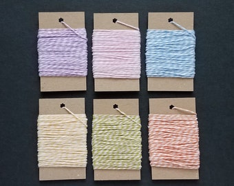 Baker's Twine Striped 10 yds, 4 ply 100% Cotton, Pastel Colors - Purple, Pink, Blue, Yellow, Green, Orange - Baby Shower, Wedding, Birthday