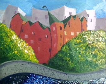 Soviet tales,cartoons,decoration of the children's room,oil painting original,Red city (Games) 40-50 km. 35