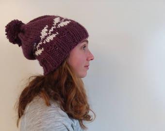 Kose Snow Leaf Women's Slouchy Pom Pom Hat