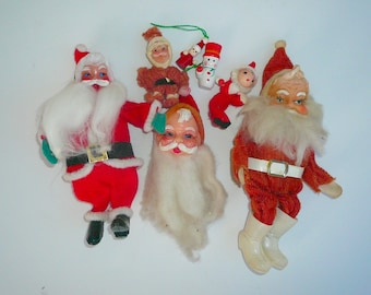Vintage Santa Collection Christmas Oranments Plastic Felt Wood Santa Claus by VintageReinvented Free Shipping