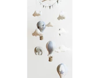 Baby Mobile / Hot Air Balloon Mobile / Crib Mobile / Felt Mobile / Elephant Wooden Mobile / Clouds Mobile / Nursery Mobile / Grey and White
