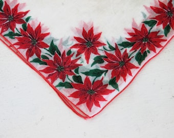 Vintage Cotton Christmas Handkerchief / Poinsettia Red Trim / Vintage Holiday Hanky Hankercheif Handkercheif / Linens Vanity