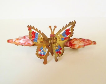 Vintage Czech Celluloid Trembler Butterfly Hair Pin. Art Deco Celluloid Trembleuse Hat Flash Hat Trim Brooch Pin.