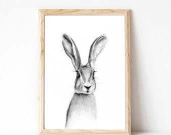 rabbit prints, woodland rabbit art, woodland bunny print, kids woodland art, nursery bunny print, nursery print forest, nursery rabbit print