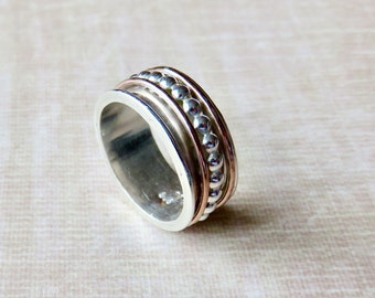 Spinner Ring For Women - Fidget Ring - Sterling Silver Spinner Ring For Her - Fidget Ring - Gold and Silver Ring - Stacking Ring -Eternity R