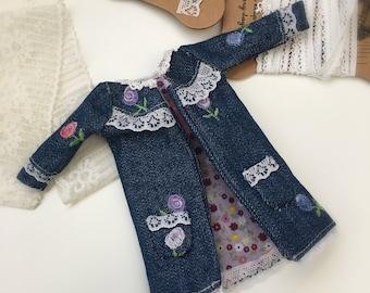 Handmade Blythe Jacket - Coat for Blythe doll - outfit - Denim Coat