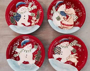 4 Festive Frosty Soup/Cereal Bowls by Studio Nova