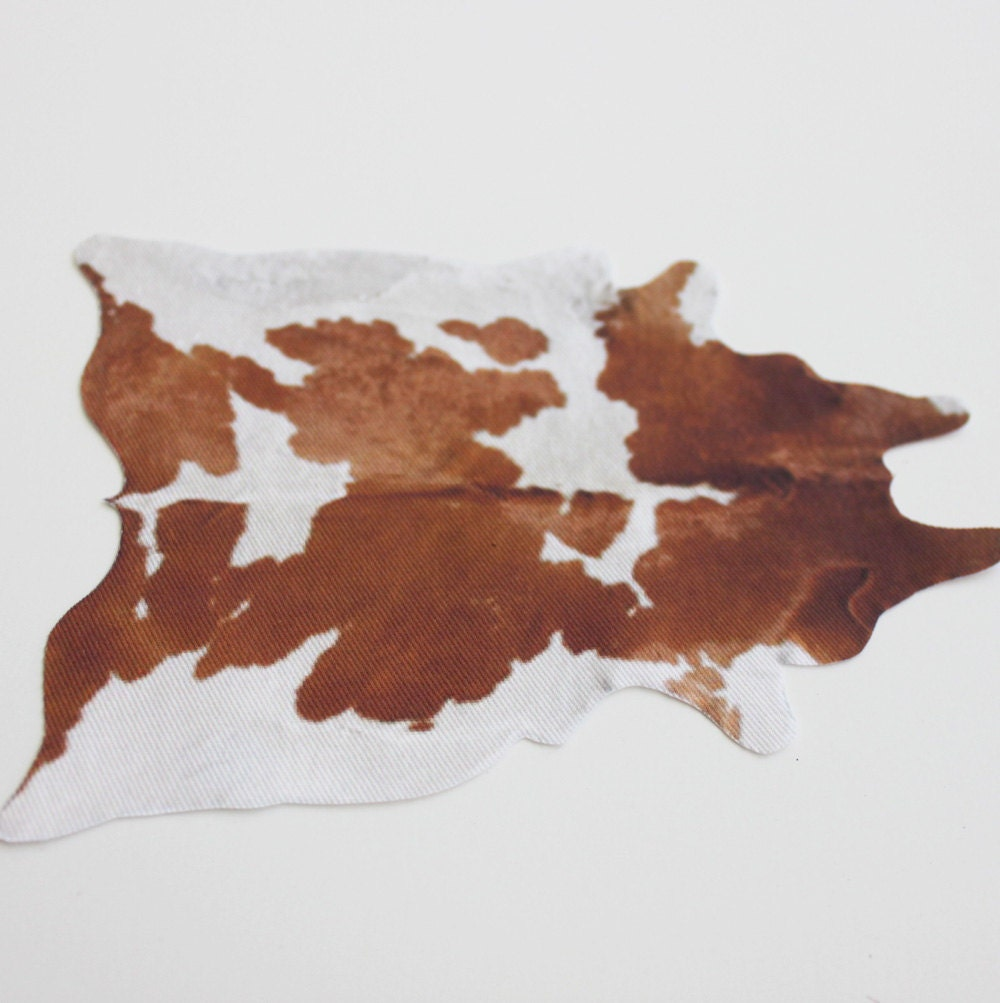 Miniature Brown and White Cowhide-Look Rug in 1:12 Dollhouse